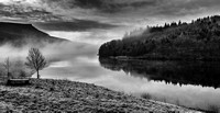 First Light Over Ladybower Reservoir On A Very Cold And Frosty January Morning.