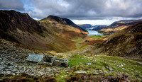 Warnscale Bothy looking through the valley towards Buttermere and Crummock Oct 2014